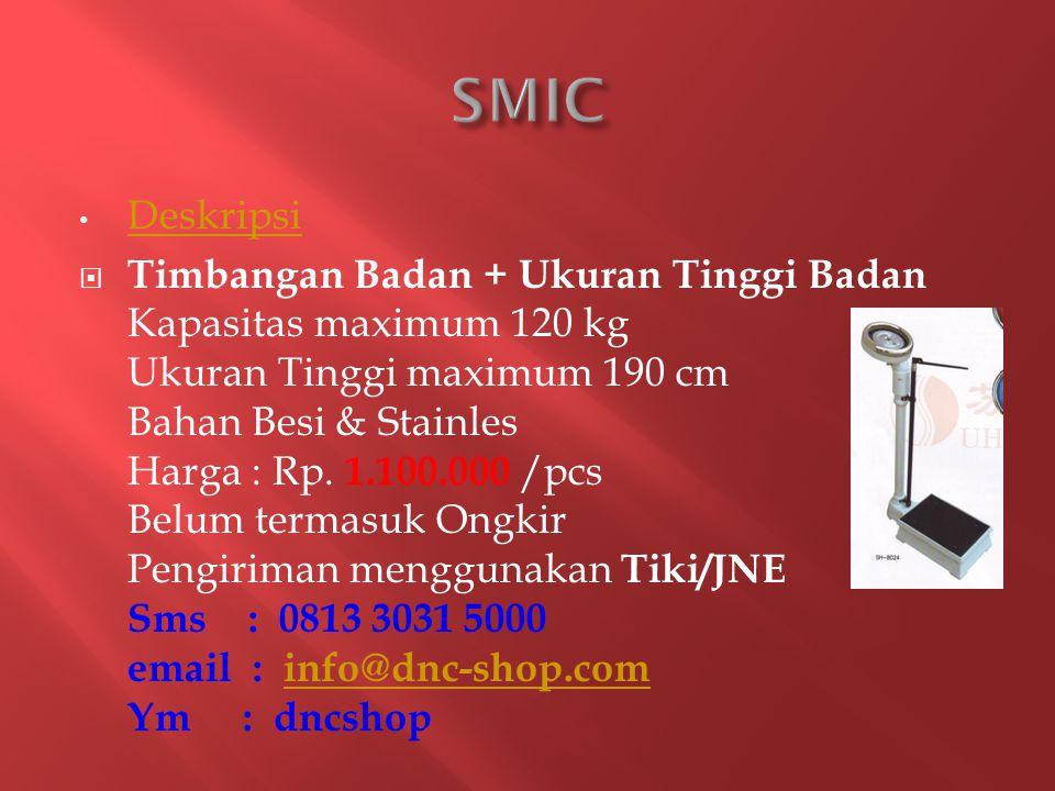 Deskripsi  Timbangan Badan + Ukuran Tinggi Badan Kapasitas maximum 120 kg Ukuran Tinggi maximum 190 cm Bahan Besi & Stainles Harga : Rp.