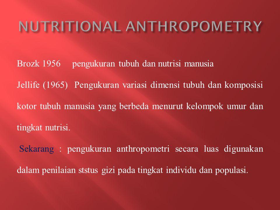 Brozk 1956 pengukuran tubuh dan nutrisi manusia Jellife (1965) Pengukuran variasi dimensi tubuh dan komposisi kotor tubuh manusia yang berbeda menurut kelompok umur dan tingkat nutrisi.