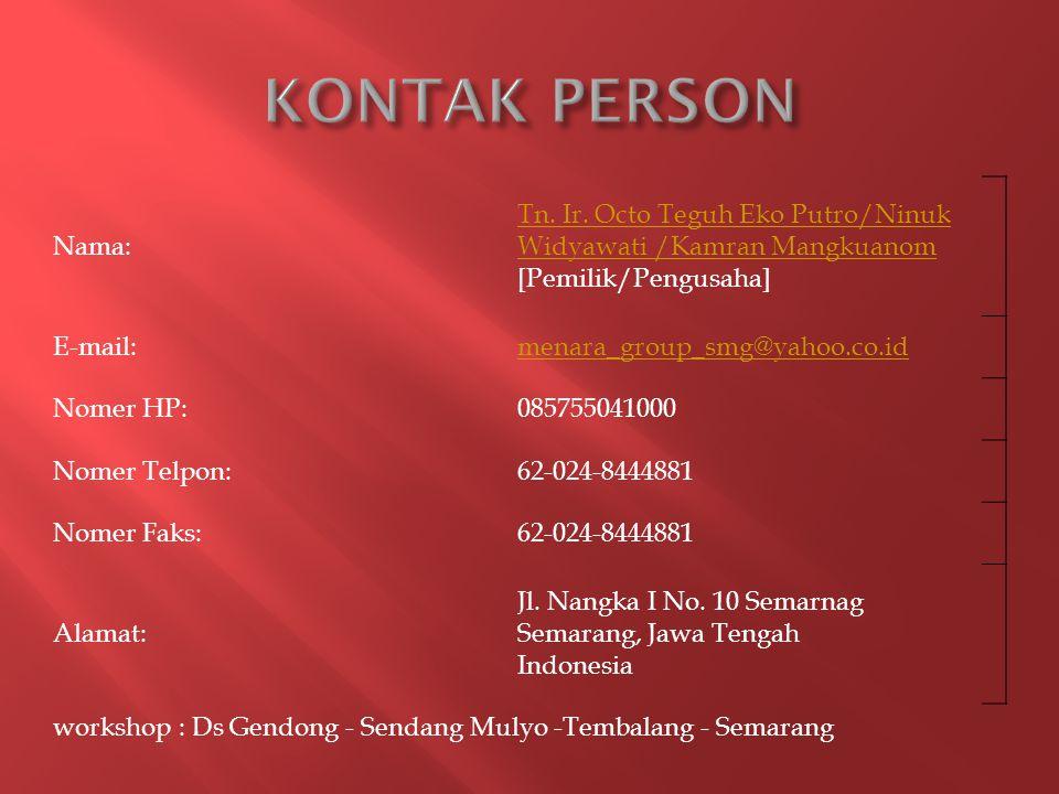 Nama: Tn.Ir. Octo Teguh Eko Putro/Ninuk Widyawati /Kamran Mangkuanom Tn.