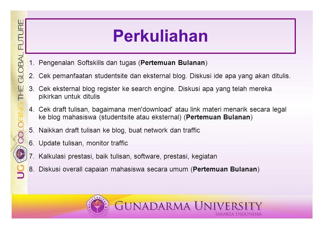 Perkuliahan 1.Pengenalan Softskills dan tugas (Pertemuan Bulanan) 2.Cek pemanfaatan studentsite dan eksternal blog. Diskusi ide apa yang akan ditulis.