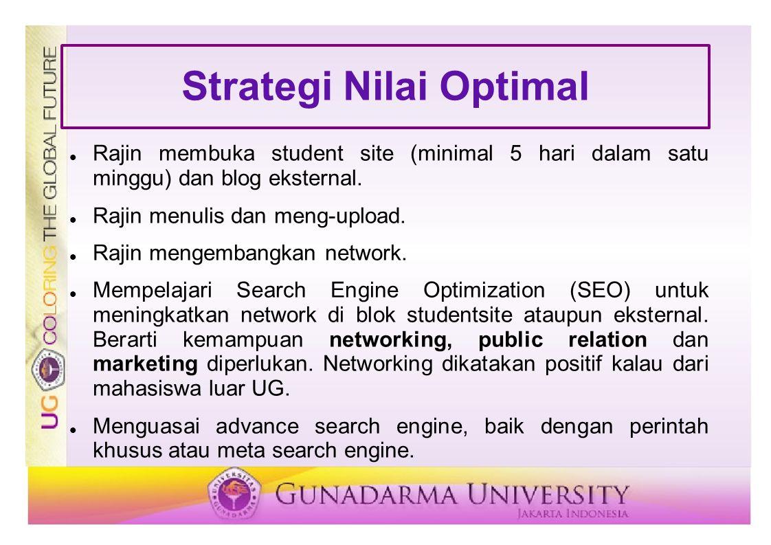 Strategi Nilai Optimal Rajin membuka student site (minimal 5 hari dalam satu minggu) dan blog eksternal. Rajin menulis dan meng-upload. Rajin mengemba
