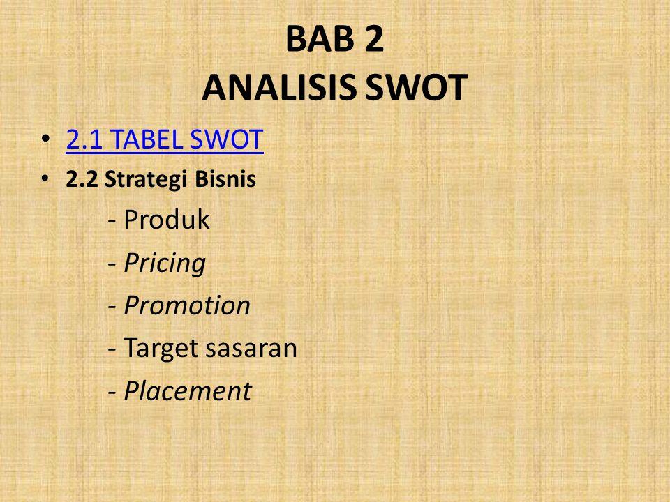 BAB 2 ANALISIS SWOT 2.1 TABEL SWOT 2.2 Strategi Bisnis - Produk - Pricing - Promotion - Target sasaran - Placement