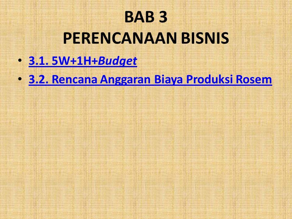 BAB 3 PERENCANAAN BISNIS 3.1. 5W+1H+Budget 3.1. 5W+1H+Budget 3.2. Rencana Anggaran Biaya Produksi Rosem