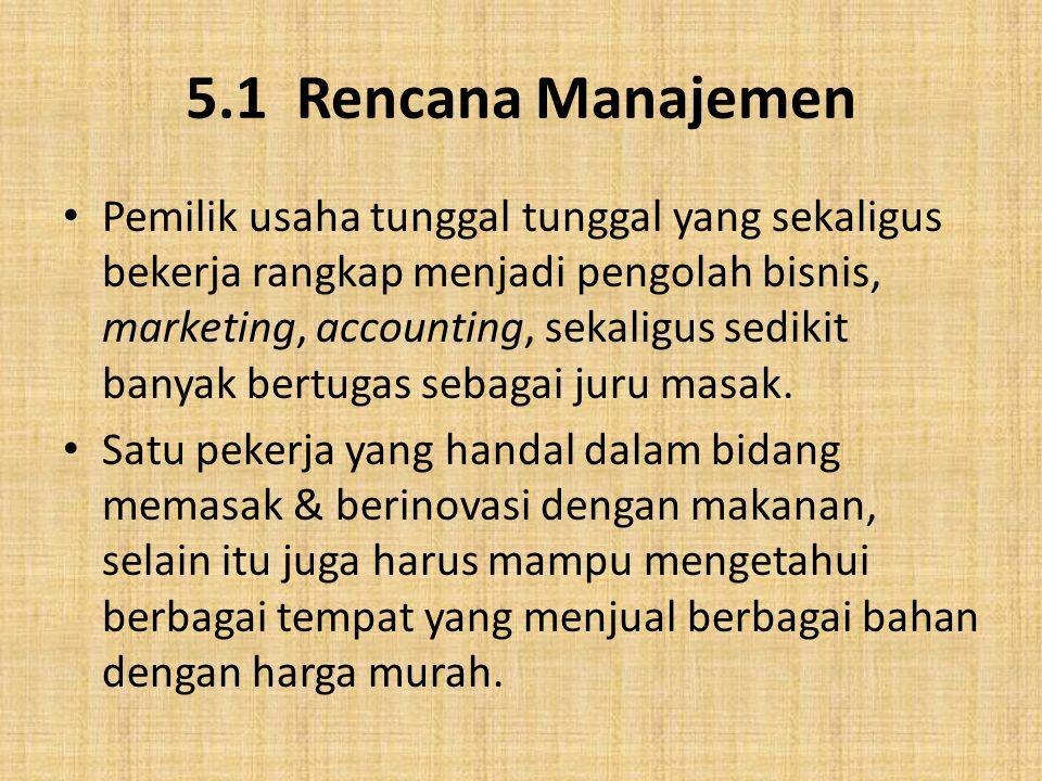 5.1 Rencana Manajemen Pemilik usaha tunggal tunggal yang sekaligus bekerja rangkap menjadi pengolah bisnis, marketing, accounting, sekaligus sedikit b