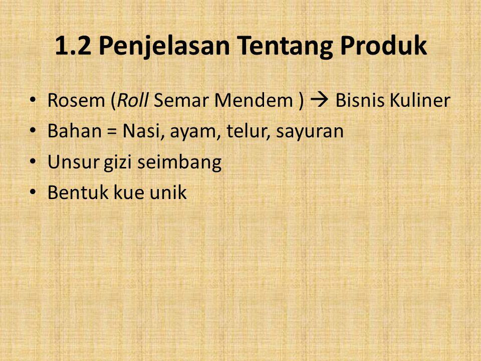 1.2 Penjelasan Tentang Produk Rosem (Roll Semar Mendem )  Bisnis Kuliner Bahan = Nasi, ayam, telur, sayuran Unsur gizi seimbang Bentuk kue unik