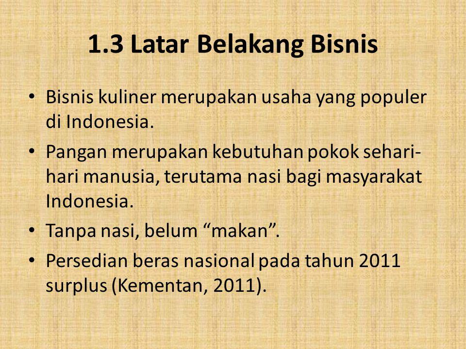 1.3 Latar Belakang Bisnis Bisnis kuliner merupakan usaha yang populer di Indonesia. Pangan merupakan kebutuhan pokok sehari- hari manusia, terutama na