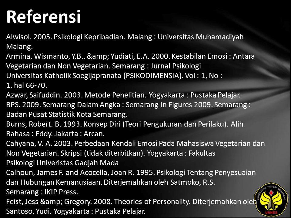 Referensi Alwisol. 2005. Psikologi Kepribadian. Malang : Universitas Muhamadiyah Malang.