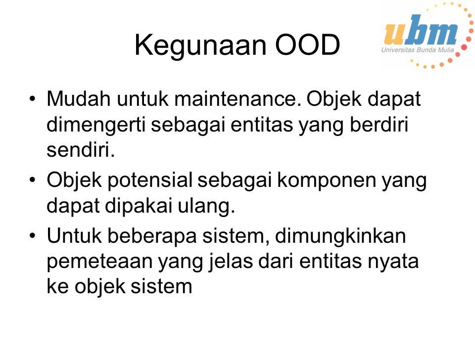 Kegunaan OOD Mudah untuk maintenance.Objek dapat dimengerti sebagai entitas yang berdiri sendiri.
