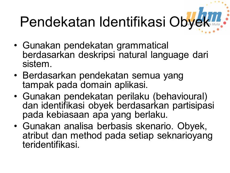 Pendekatan Identifikasi Obyek Gunakan pendekatan grammatical berdasarkan deskripsi natural language dari sistem.
