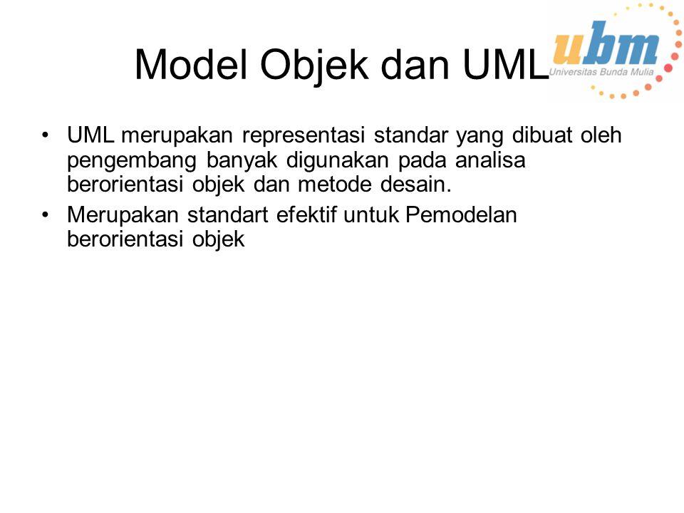 Model Objek dan UML UML merupakan representasi standar yang dibuat oleh pengembang banyak digunakan pada analisa berorientasi objek dan metode desain.