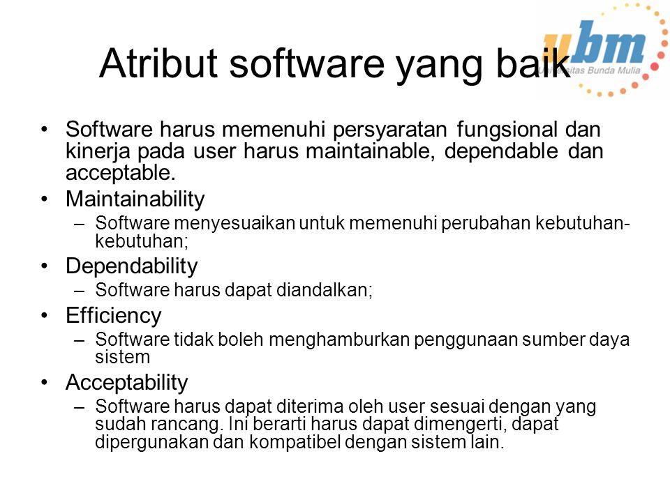 Atribut software yang baik Software harus memenuhi persyaratan fungsional dan kinerja pada user harus maintainable, dependable dan acceptable.