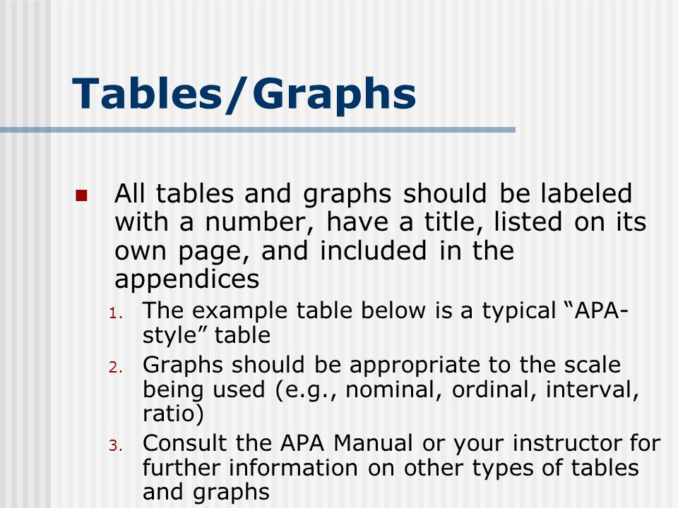 Tables/Graphs All tables and graphs should be labeled with a number, have a title, listed on its own page, and included in the appendices 1.