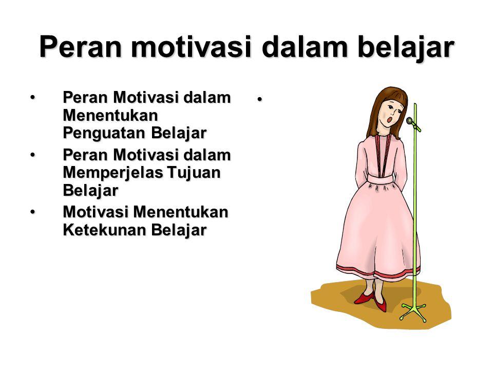 Peran motivasi dalam belajar Peran Motivasi dalam Menentukan Penguatan BelajarPeran Motivasi dalam Menentukan Penguatan Belajar Peran Motivasi dalam M