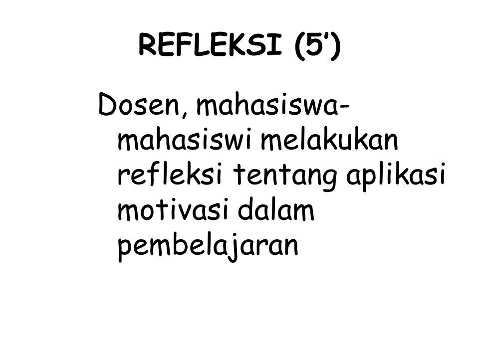 REFLEKSI (5') Dosen, mahasiswa- mahasiswi melakukan refleksi tentang aplikasi motivasi dalam pembelajaran