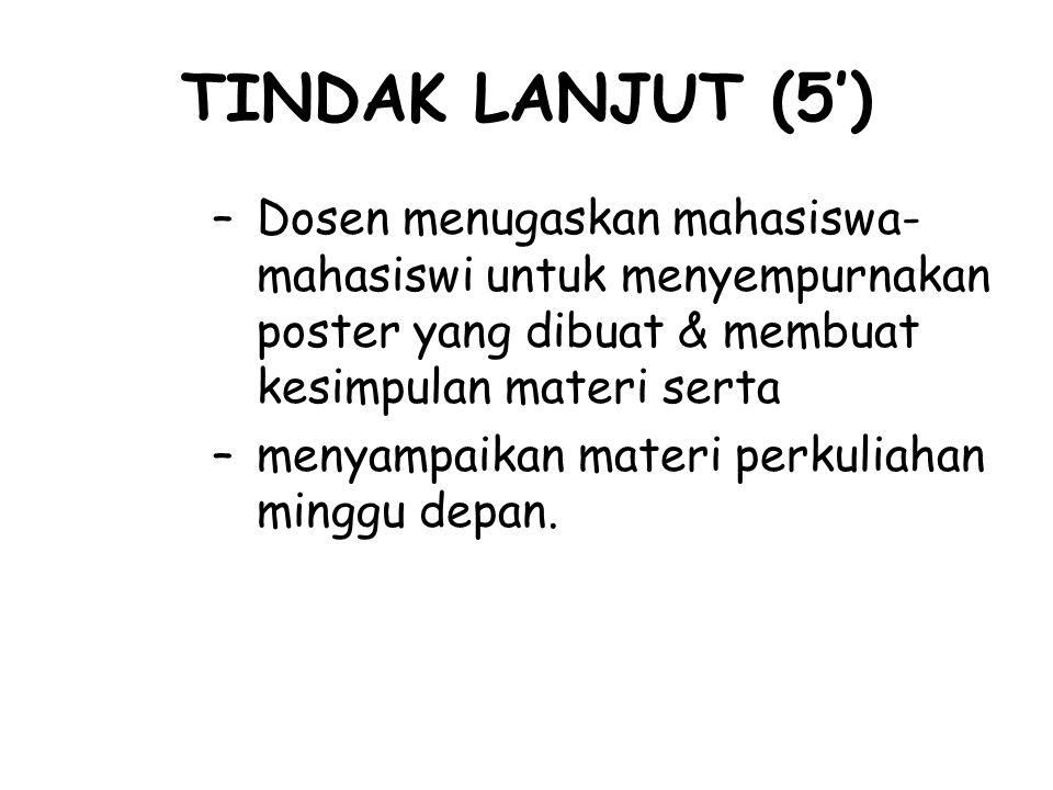 TINDAK LANJUT (5') –Dosen menugaskan mahasiswa- mahasiswi untuk menyempurnakan poster yang dibuat & membuat kesimpulan materi serta –menyampaikan mate
