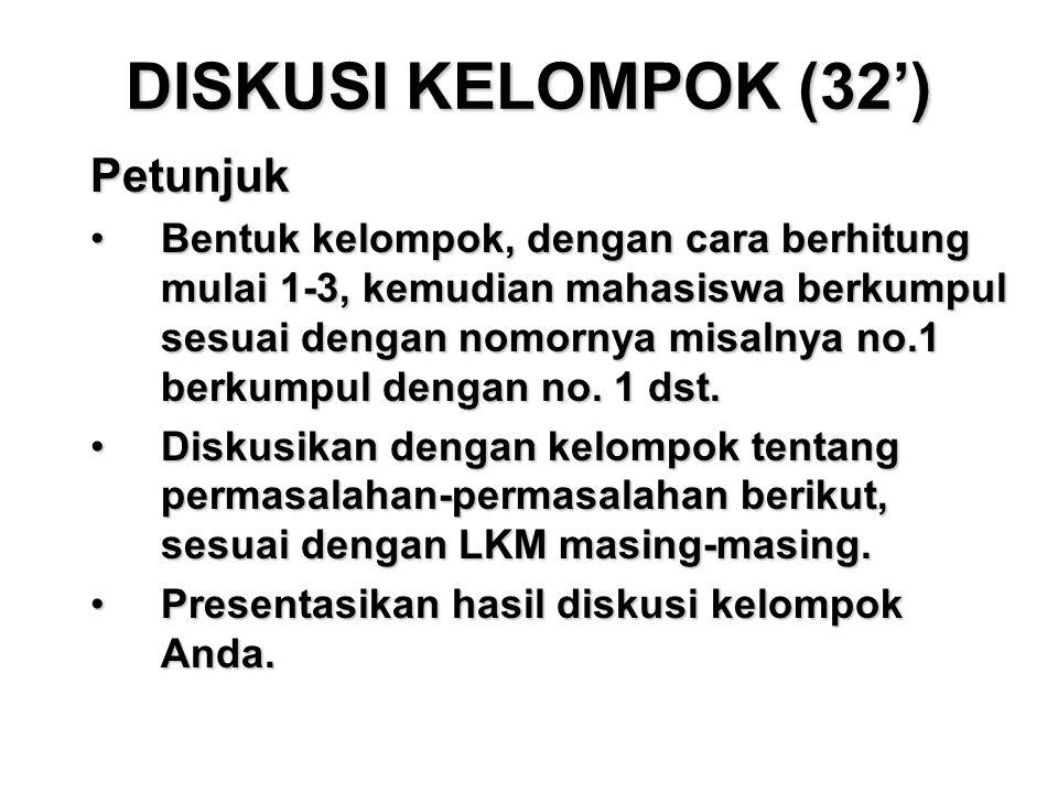 DISKUSI KELOMPOK (32') Petunjuk Bentuk kelompok, dengan cara berhitung mulai 1-3, kemudian mahasiswa berkumpul sesuai dengan nomornya misalnya no.1 be
