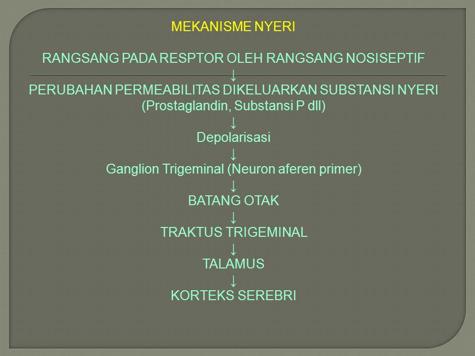 MEKANISME NYERI RANGSANG PADA RESPTOR OLEH RANGSANG NOSISEPTIF ↓ PERUBAHAN PERMEABILITAS DIKELUARKAN SUBSTANSI NYERI (Prostaglandin, Substansi P dll)