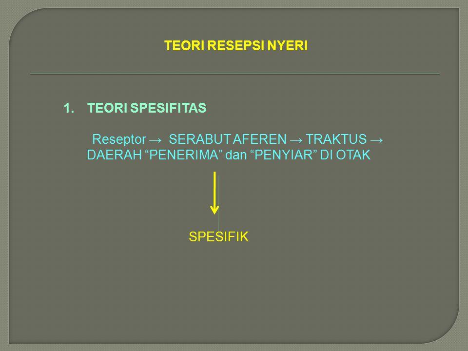 """TEORI RESEPSI NYERI 1.TEORI SPESIFITAS Reseptor → SERABUT AFEREN → TRAKTUS → DAERAH """"PENERIMA"""" dan """"PENYIAR"""" DI OTAK SPESIFIK"""
