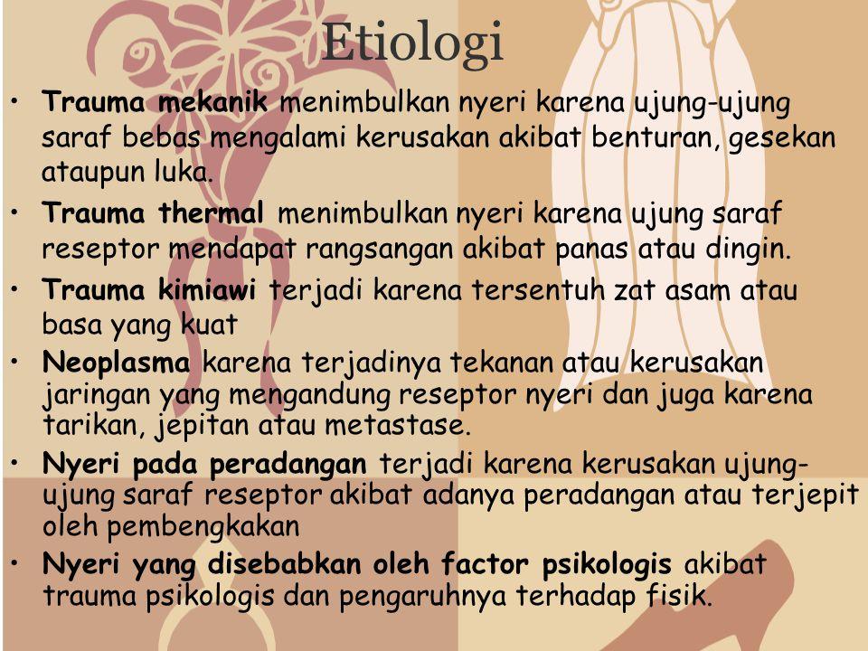 Etiologi Trauma mekanik menimbulkan nyeri karena ujung-ujung saraf bebas mengalami kerusakan akibat benturan, gesekan ataupun luka. Trauma thermal men