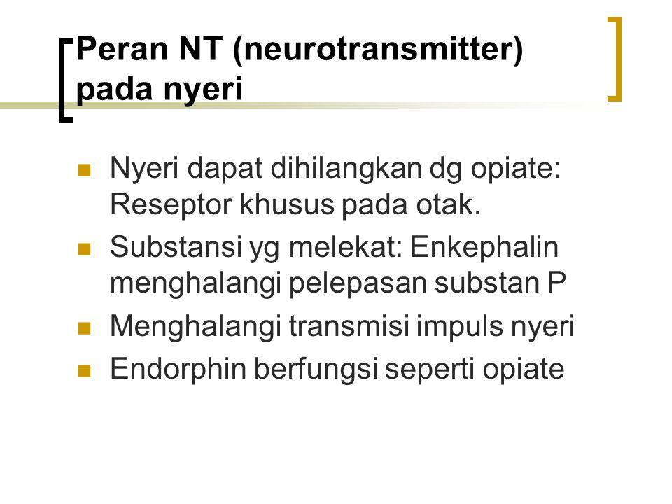 Peran NT (neurotransmitter) pada nyeri Nyeri dapat dihilangkan dg opiate: Reseptor khusus pada otak. Substansi yg melekat: Enkephalin menghalangi pele