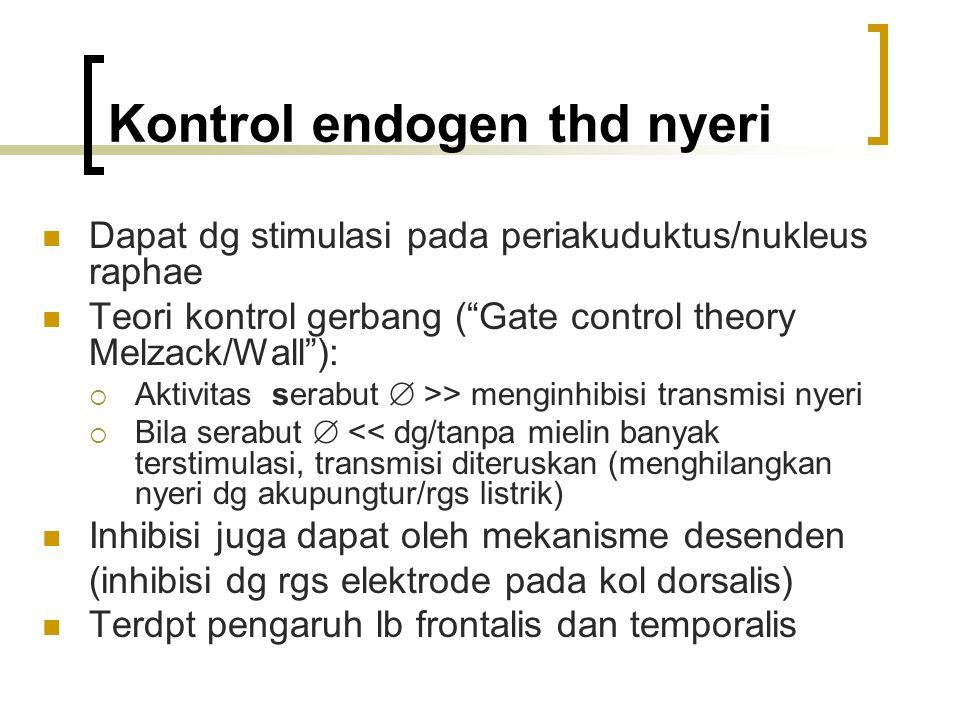 "Kontrol endogen thd nyeri Dapat dg stimulasi pada periakuduktus/nukleus raphae Teori kontrol gerbang (""Gate control theory Melzack/Wall""):  Aktivitas"