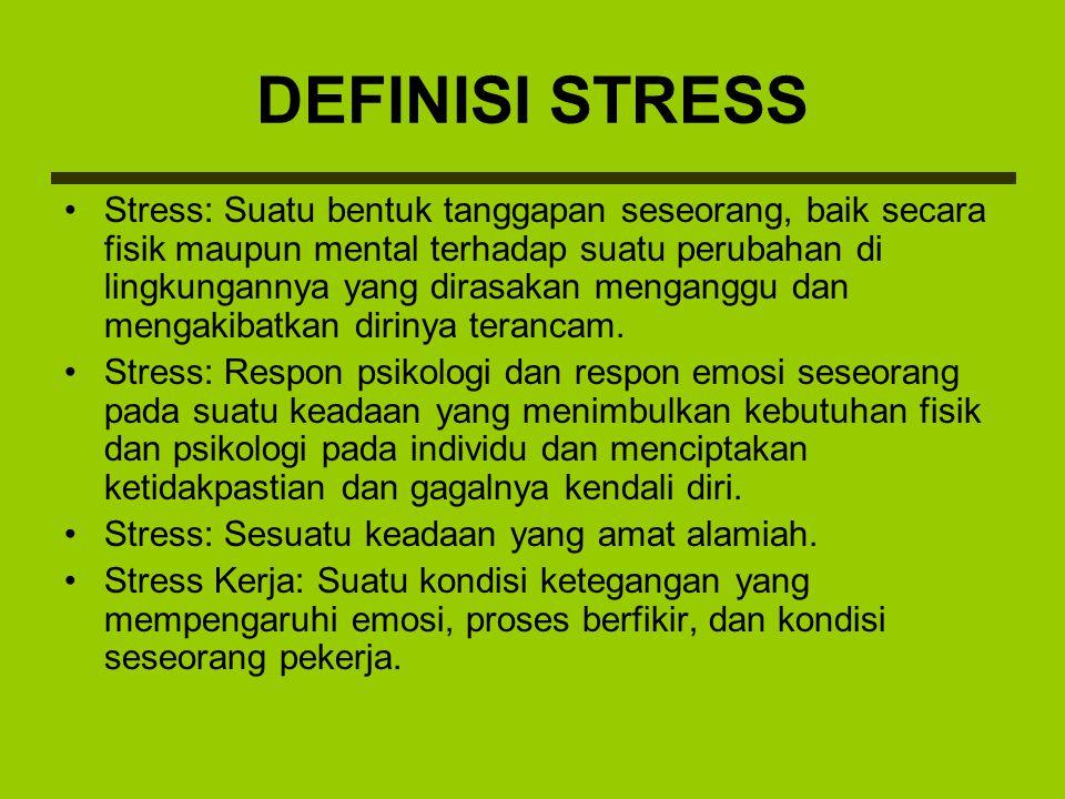 PENYEBAB STRESS Stress karyawan timbul akibat kepuasan kerja yang tidak terwujud dari pekerjaanya.