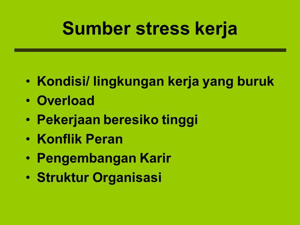 AKIBAT STRESS Akibat stress pada seseorang dapat bermacam- macam dan sangat tergantung pada kekuatan konsep dirinya yang akhirnya menentukan besar kecilnya toleransi orang tersebut terhadap stress.