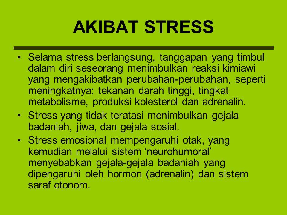 Stress menimbulkan gejala-gejala ringan sebagai berikut: –Gejala Badaniah: sakit kepala, sakit maagh, keluar keringat dingin, panas dingin suhu badan, kejang lambung dan usus, mudah kaget (berdebar-debar), gangguan seksual, ganggun pola tidur, lesu lemah, kaku leher belakang sampai punggun, dada rasa panas/ nyeri, rasa tersumbat di tenggorokan, nafsu makan menurun, mual, muntah, bermacam-macam gangguan menstruasi, keputihan, kejang-kejang, pingsan, dan lain-lain.