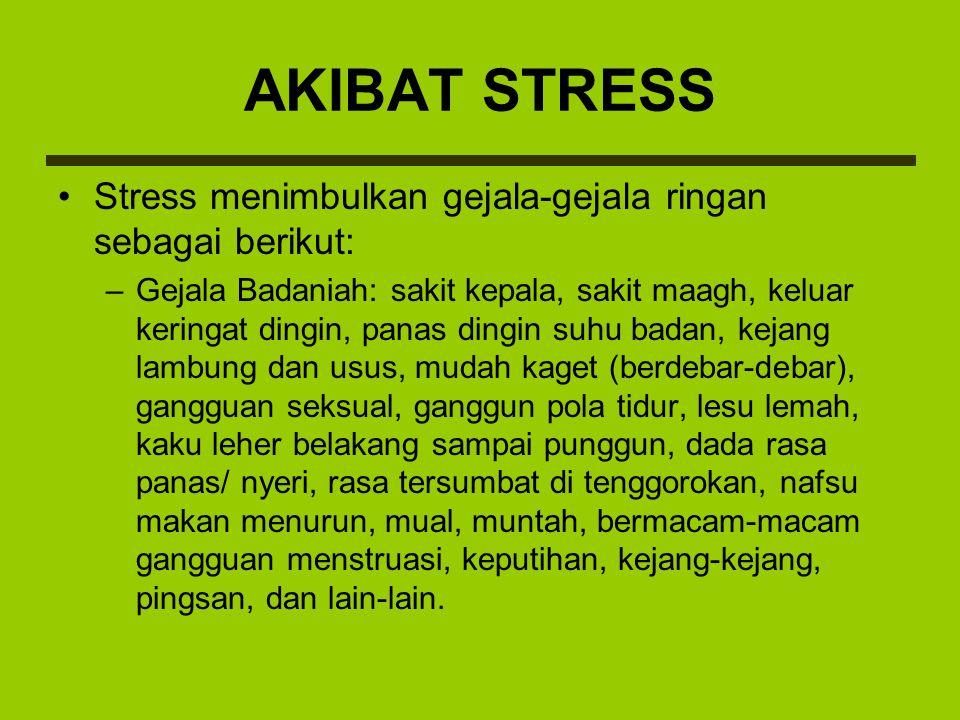 Stress menimbulkan gejala-gejala ringan sebagai berikut: –Gejala Badaniah: sakit kepala, sakit maagh, keluar keringat dingin, panas dingin suhu badan,