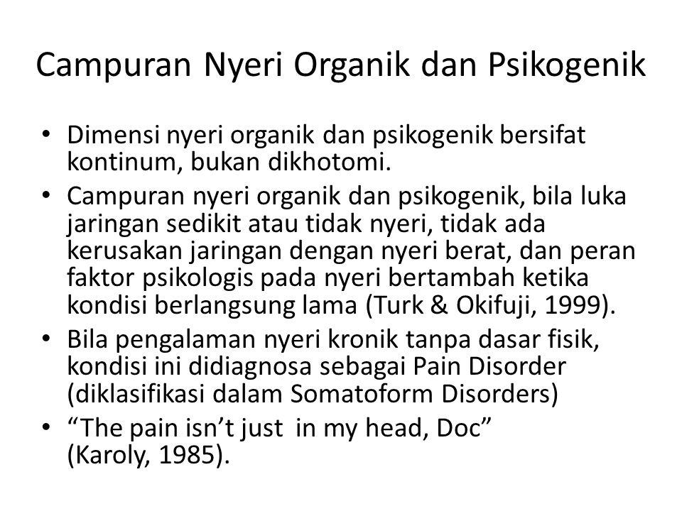 Campuran Nyeri Organik dan Psikogenik Dimensi nyeri organik dan psikogenik bersifat kontinum, bukan dikhotomi. Campuran nyeri organik dan psikogenik,