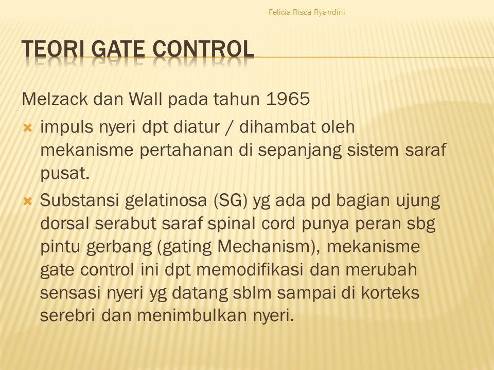 Melzack dan Wall pada tahun 1965  impuls nyeri dpt diatur / dihambat oleh mekanisme pertahanan di sepanjang sistem saraf pusat.