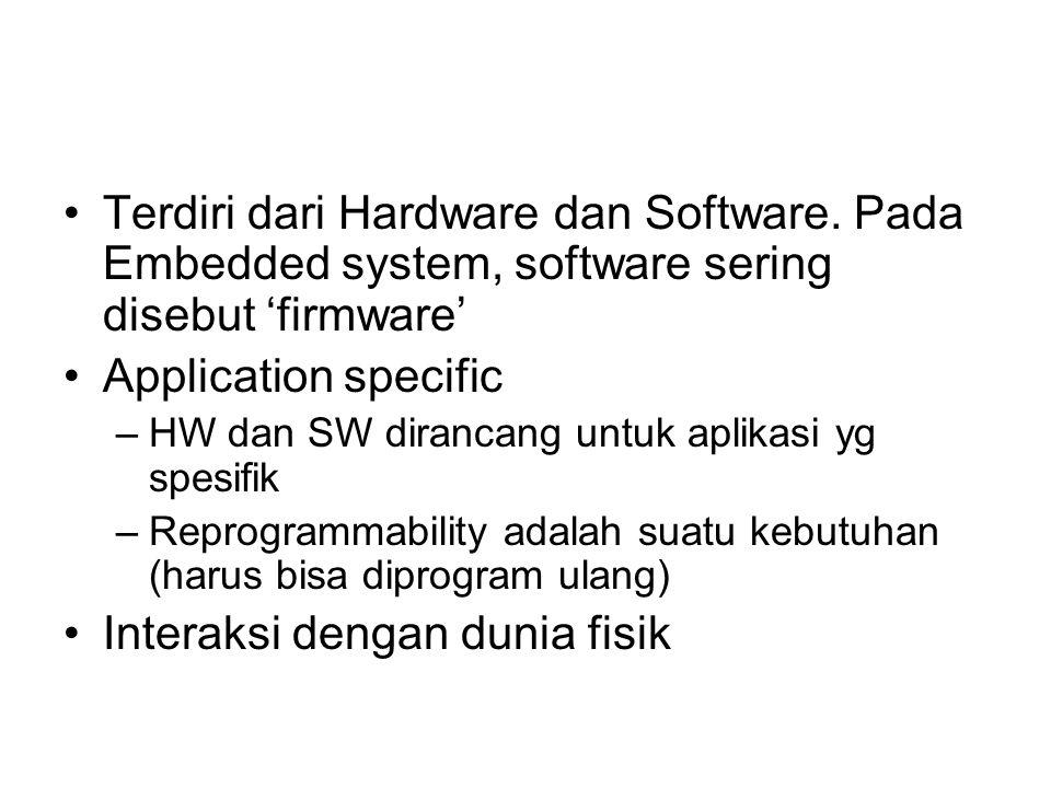 Terdiri dari Hardware dan Software. Pada Embedded system, software sering disebut 'firmware' Application specific –HW dan SW dirancang untuk aplikasi