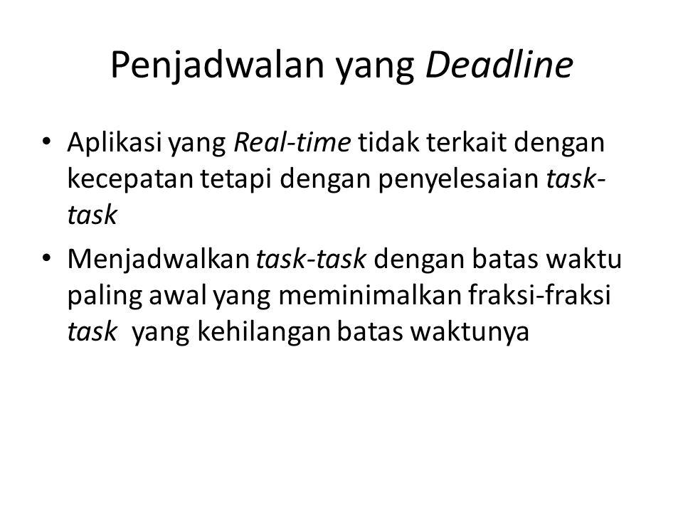 Penjadwalan yang Deadline Aplikasi yang Real-time tidak terkait dengan kecepatan tetapi dengan penyelesaian task- task Menjadwalkan task-task dengan b