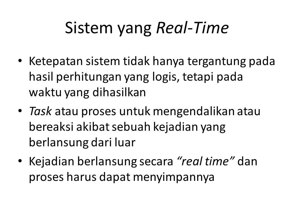 Sistem yang Real-Time Ketepatan sistem tidak hanya tergantung pada hasil perhitungan yang logis, tetapi pada waktu yang dihasilkan Task atau proses un