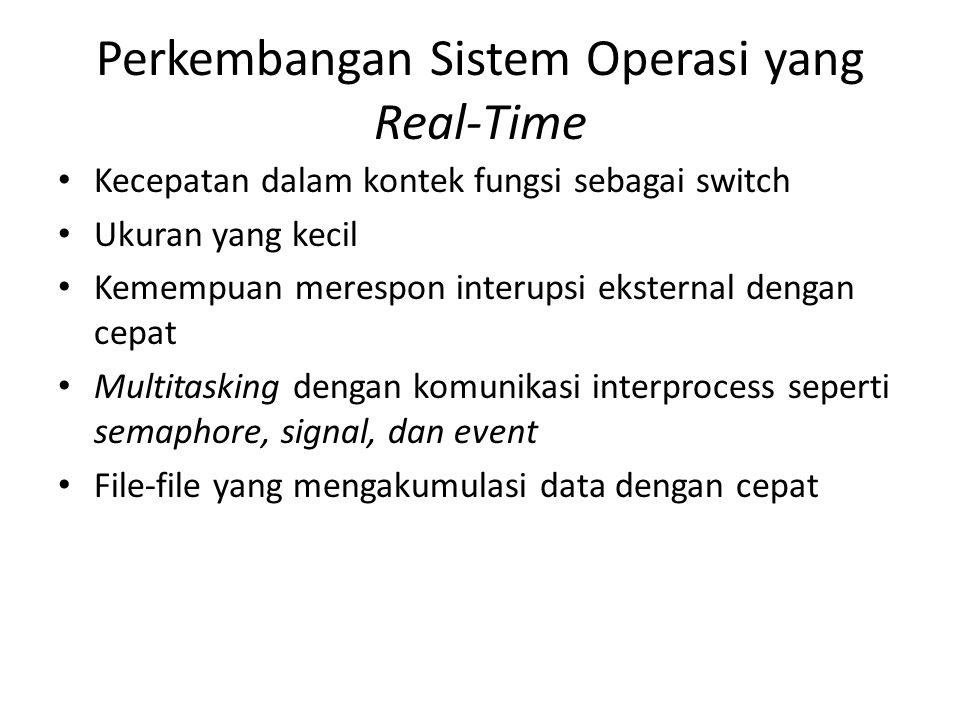 Perkembangan Sistem Operasi yang Real-Time Kecepatan dalam kontek fungsi sebagai switch Ukuran yang kecil Kemempuan merespon interupsi eksternal denga