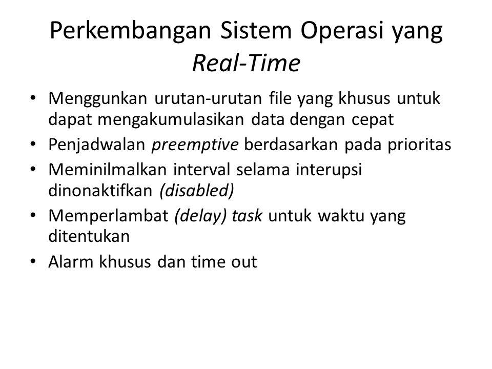 Perkembangan Sistem Operasi yang Real-Time Menggunkan urutan-urutan file yang khusus untuk dapat mengakumulasikan data dengan cepat Penjadwalan preemp