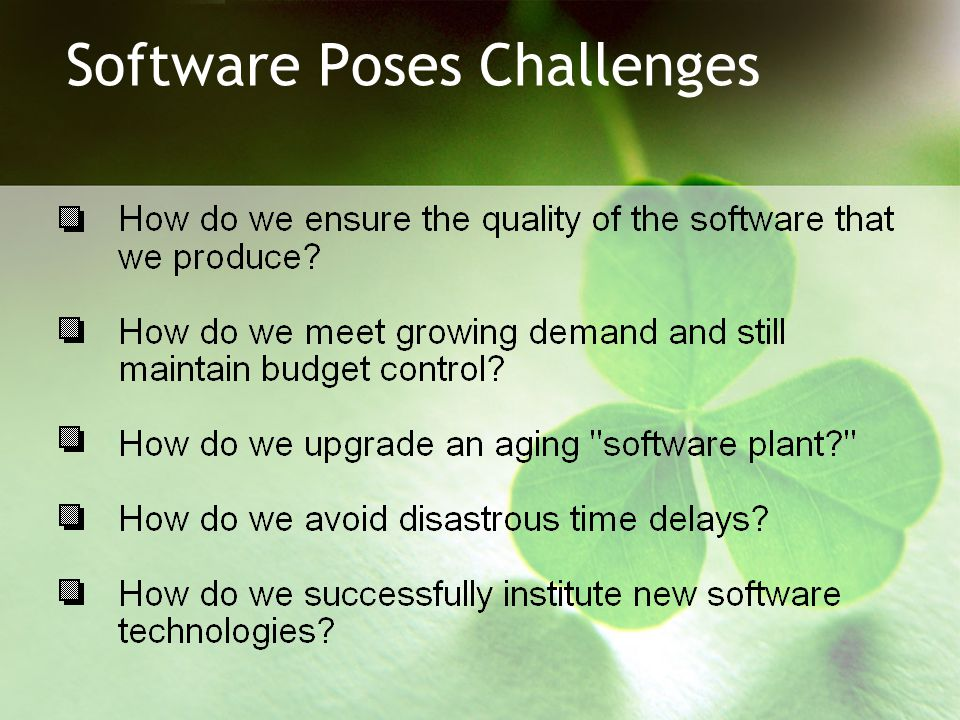 Software Poses Challenges