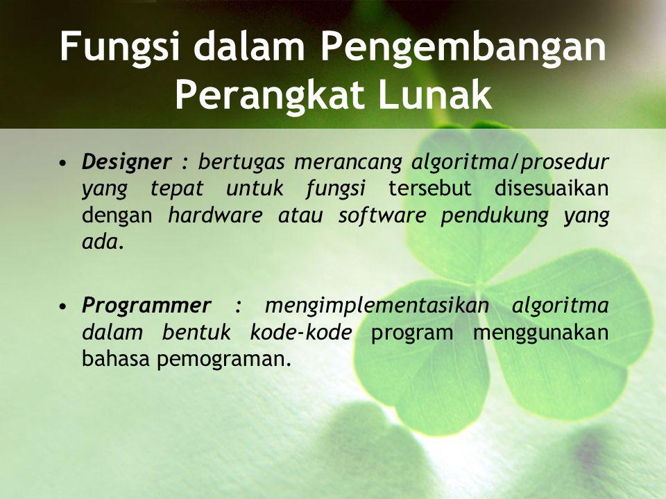 Fungsi dalam Pengembangan Perangkat Lunak Designer : bertugas merancang algoritma/prosedur yang tepat untuk fungsi tersebut disesuaikan dengan hardwar