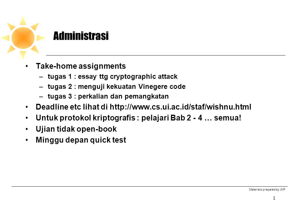 Materials prepared by WP 12 PS (Processing Stage) dalam N-Hash Input : X dan P, masing2 128 bit.