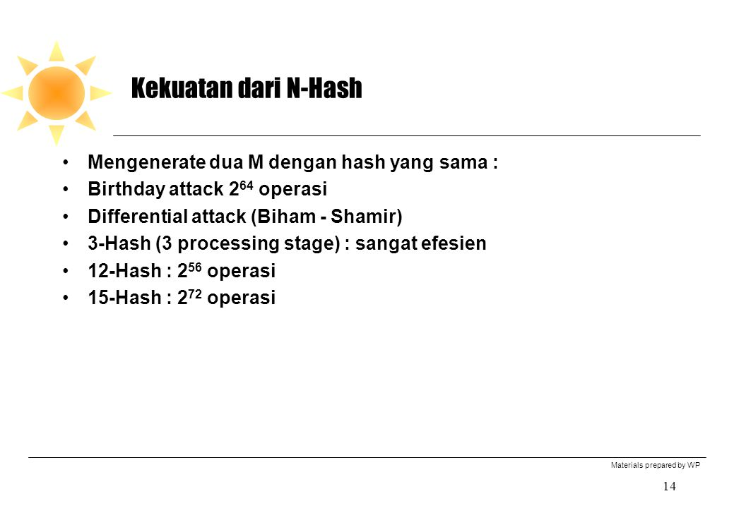 Materials prepared by WP 14 Kekuatan dari N-Hash Mengenerate dua M dengan hash yang sama : Birthday attack 2 64 operasi Differential attack (Biham - S