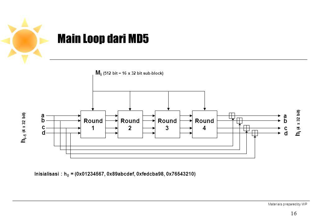 Materials prepared by WP 16 Main Loop dari MD5 Round 1 Round 2 Round 3 Round 4 M i (512 bit = 16 x 32 bit sub-block) h i (4 x 32 bit) h i-1 (4 x 32 bit) Inisialisasi : h 0 = (0x01234567, 0x89abcdef, 0xfedcba98, 0x76543210) a b c d a b c d