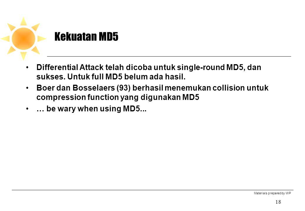 Materials prepared by WP 18 Kekuatan MD5 Differential Attack telah dicoba untuk single-round MD5, dan sukses.