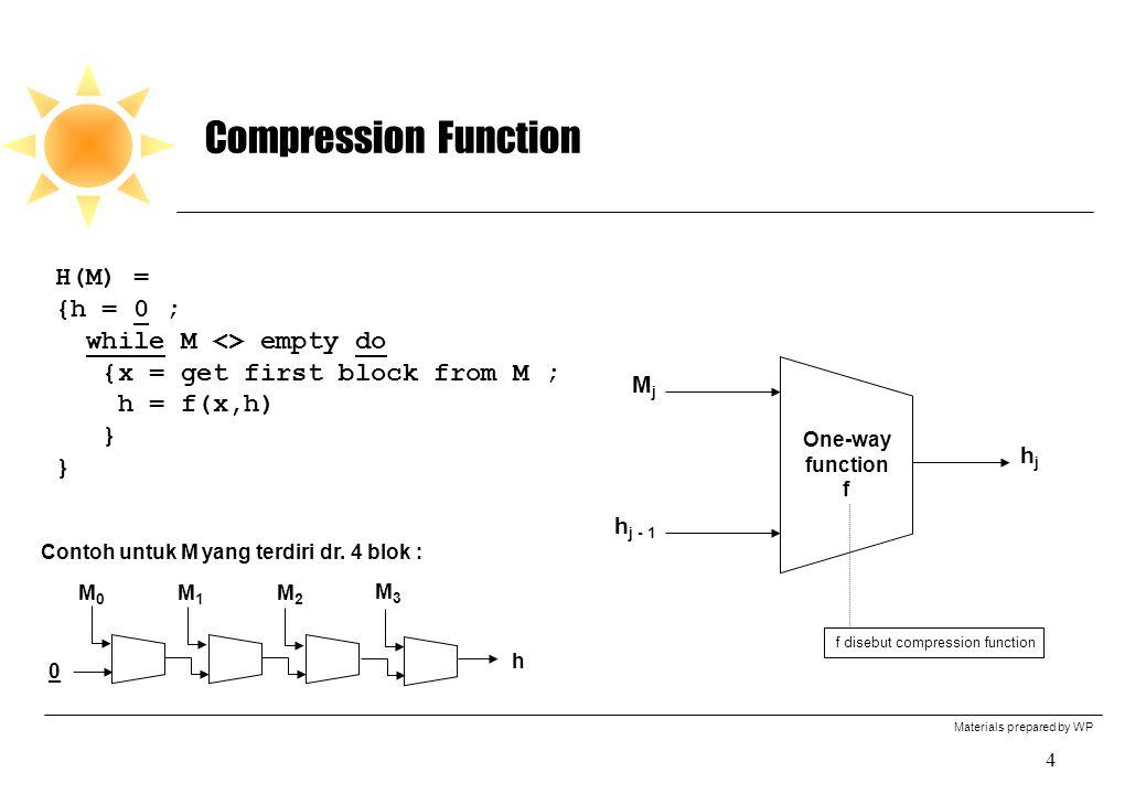 Materials prepared by WP 5 Memperkuan Fungsi Hash Memperbesar Ukuran Hash Value 1.