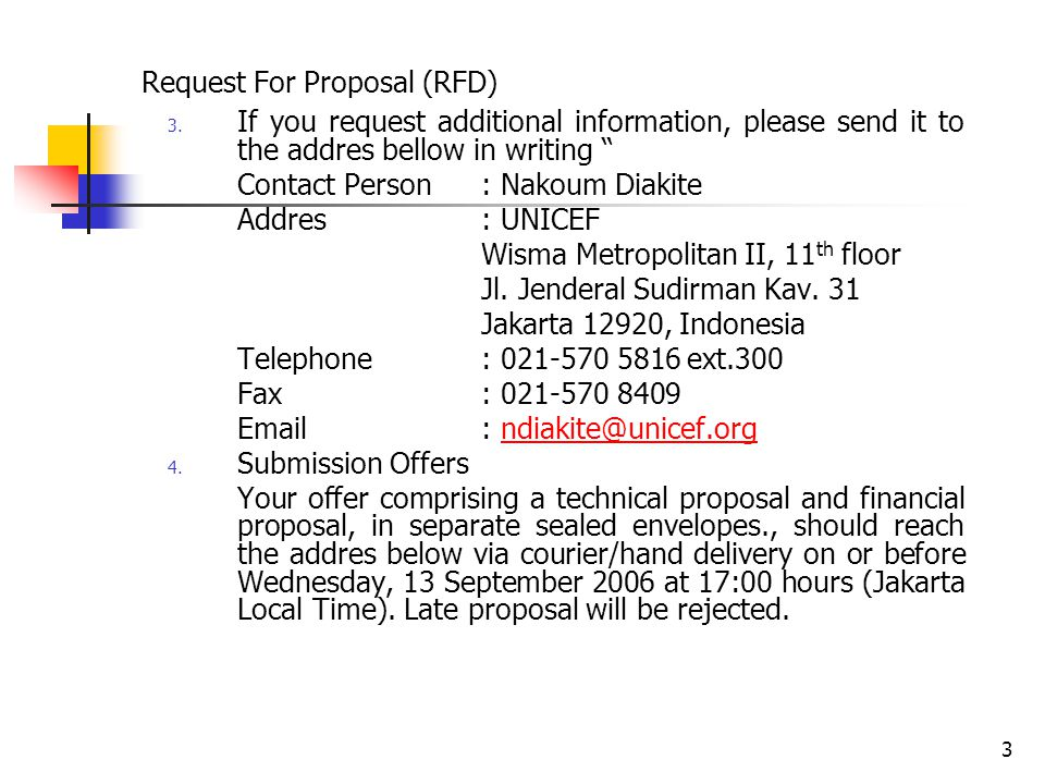3 Request For Proposal (RFD) 3.