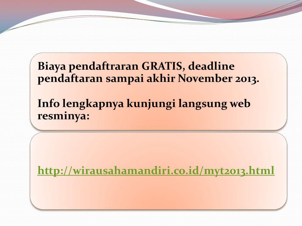 Biaya pendaftraran GRATIS, deadline pendaftaran sampai akhir November 2013.