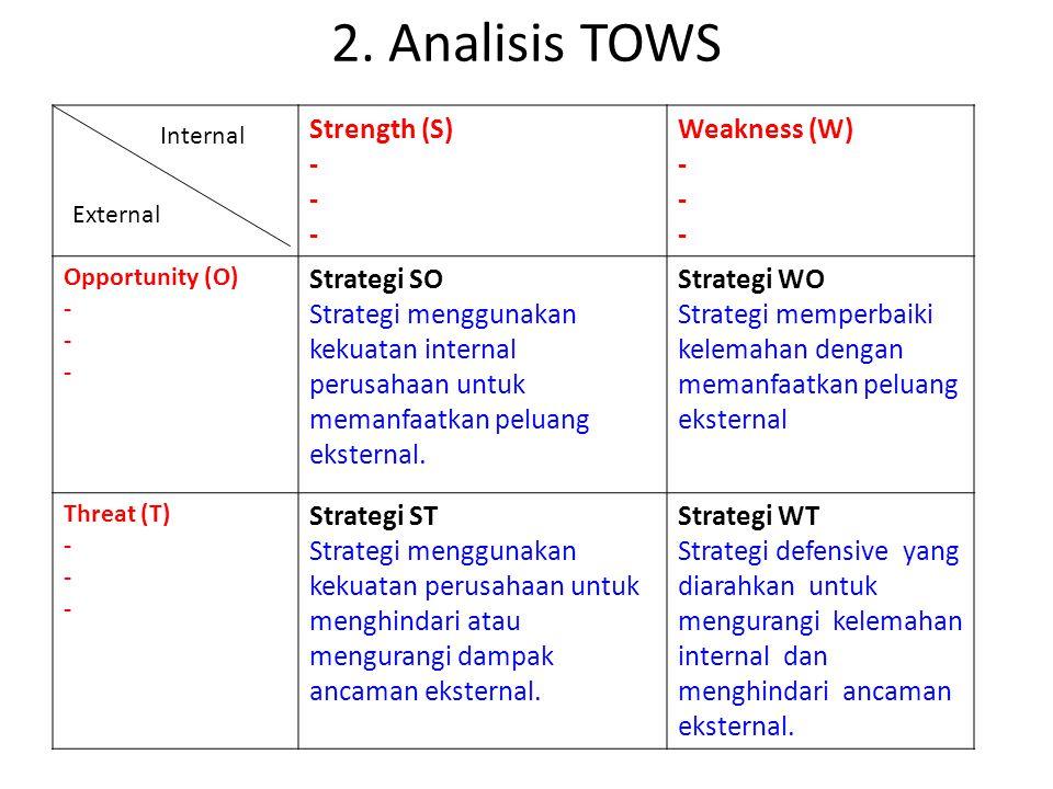 2. Analisis TOWS Strength (S) - Weakness (W) - Opportunity (O) - Strategi SO Strategi menggunakan kekuatan internal perusahaan untuk memanfaatkan pelu
