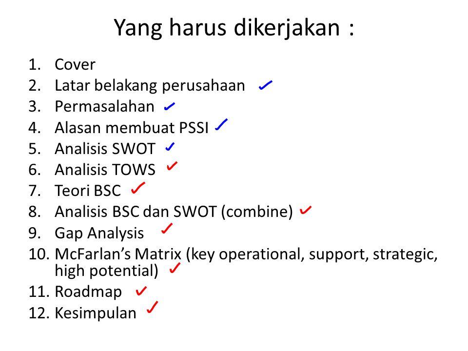 Yang harus dikerjakan : 1.Cover 2.Latar belakang perusahaan 3.Permasalahan 4.Alasan membuat PSSI 5.Analisis SWOT 6.Analisis TOWS 7.Teori BSC 8.Analisis BSC dan SWOT (combine) 9.Gap Analysis 10.McFarlan's Matrix (key operational, support, strategic, high potential) 11.Roadmap 12.Kesimpulan