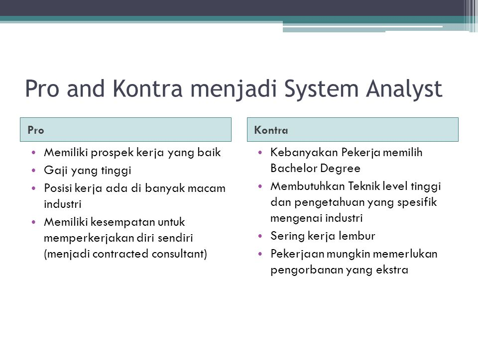 Pro and Kontra menjadi System Analyst ProKontra Memiliki prospek kerja yang baik Gaji yang tinggi Posisi kerja ada di banyak macam industri Memiliki k