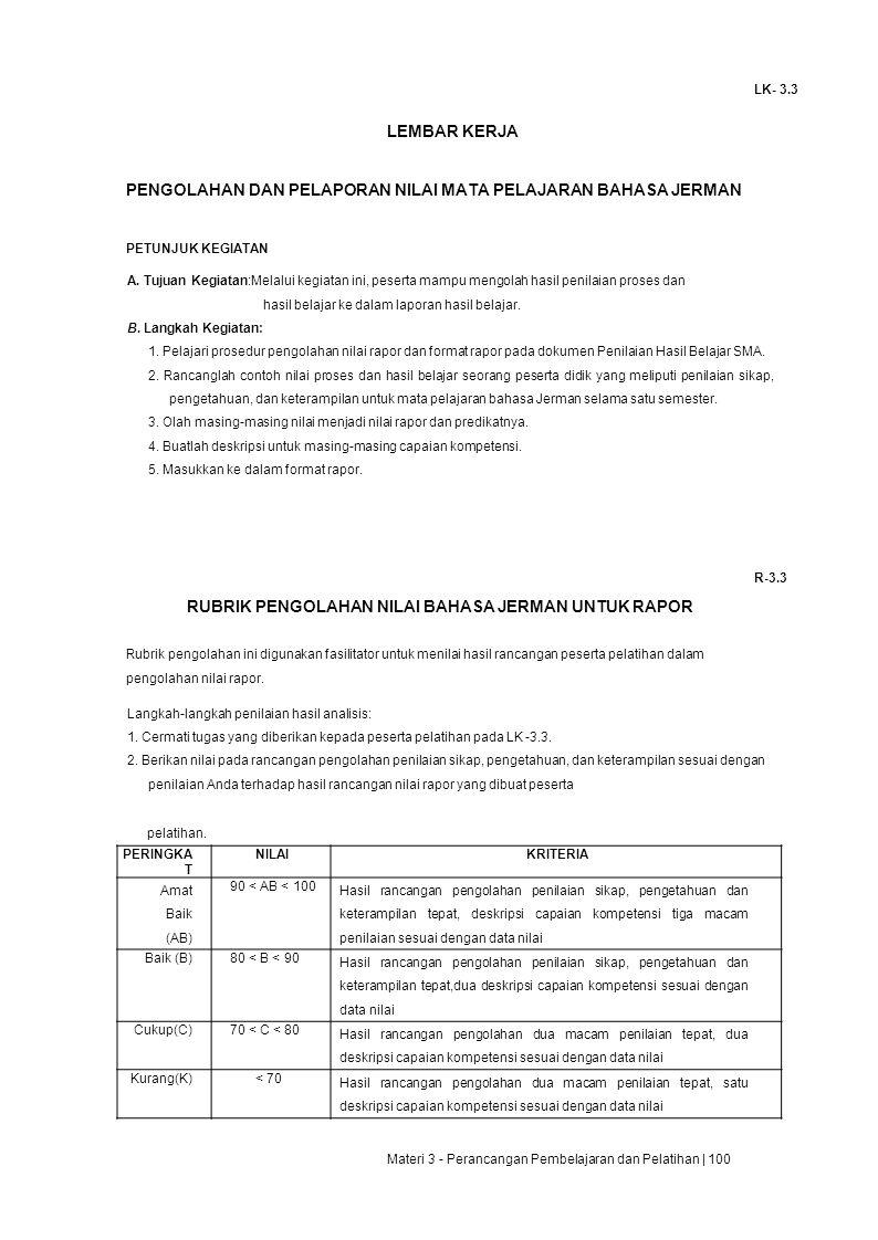 LK- 3.3 LEMBAR KERJA PENGOLAHAN DAN PELAPORAN NILAI MATA PELAJARAN BAHASA JERMAN PETUNJUK KEGIATAN A.