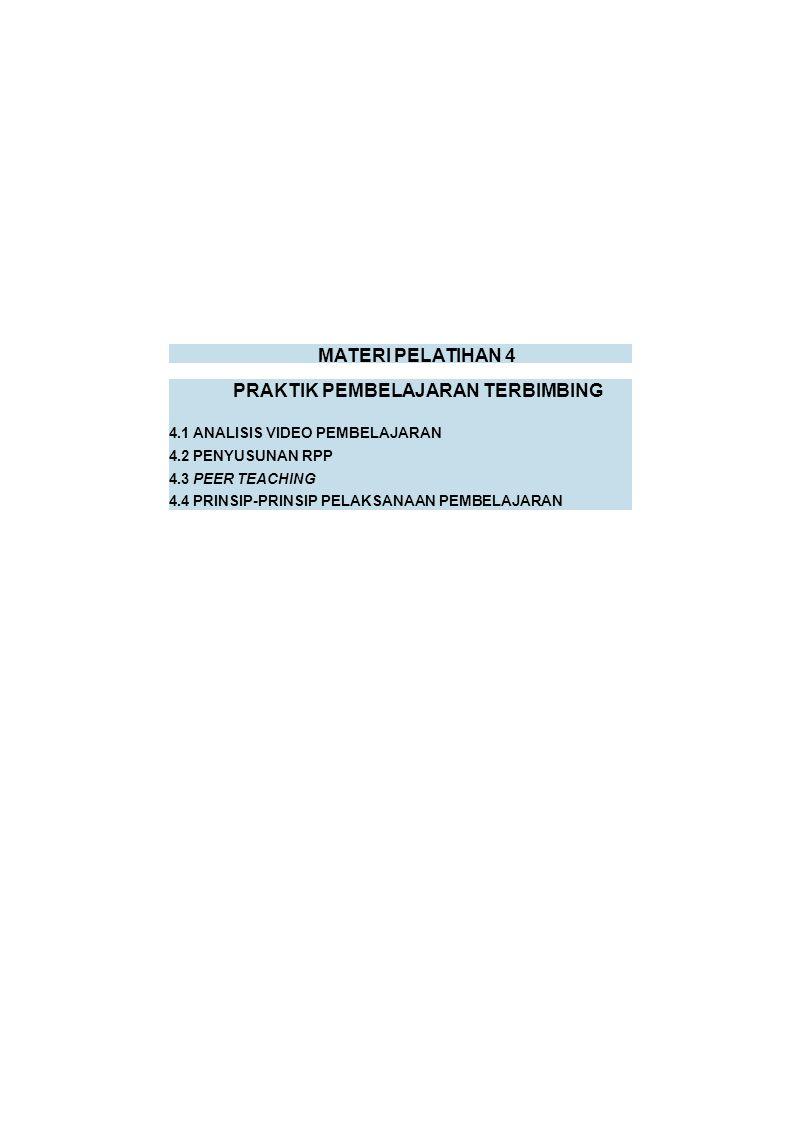 MATERI PELATIHAN 4 PRAKTIK PEMBELAJARAN TERBIMBING 4.1 ANALISIS VIDEO PEMBELAJARAN 4.2 PENYUSUNAN RPP 4.3 PEER TEACHING 4.4 PRINSIP-PRINSIP PELAKSANAAN PEMBELAJARAN
